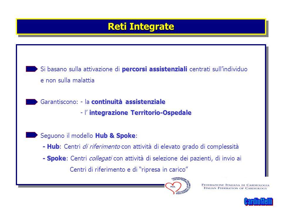 Reti IntegrateSi basano sulla attivazione di percorsi assistenziali centrati sull'individuo. e non sulla malattia