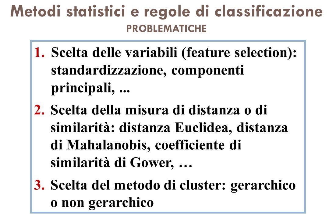Metodi statistici e regole di classificazione PROBLEMATICHE