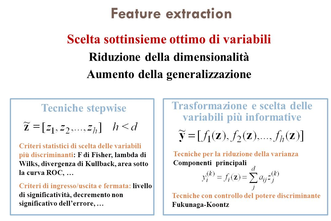 Feature extraction Scelta sottinsieme ottimo di variabili