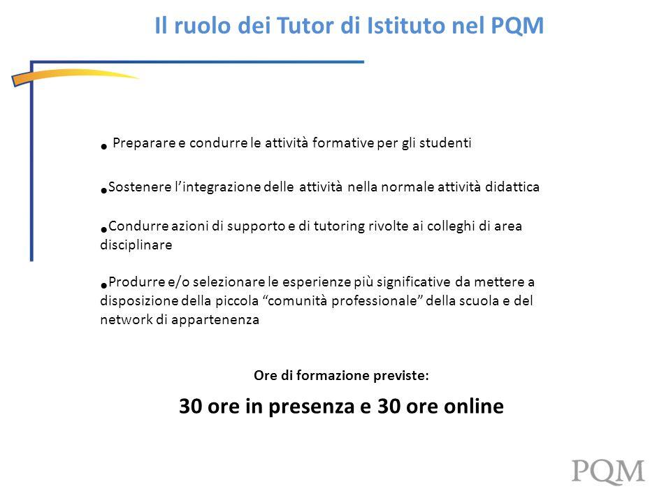 Il ruolo dei Tutor di Istituto nel PQM