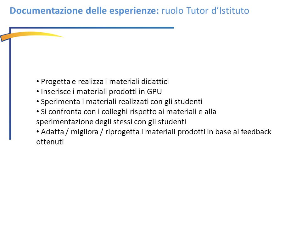Documentazione delle esperienze: ruolo Tutor d'Istituto