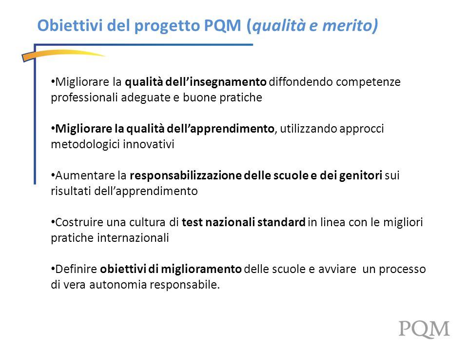 Obiettivi del progetto PQM (qualità e merito)