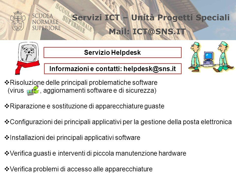 Informazioni e contatti: helpdesk@sns.it