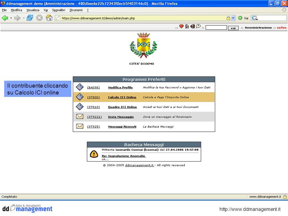 Il contribuente cliccando su Calcolo ICI online