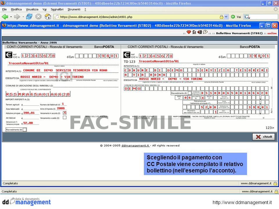Scegliendo il pagamento con CC Postale viene compilato il relativo