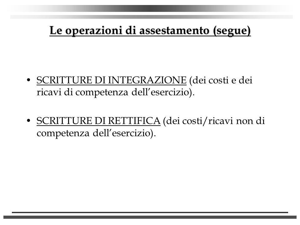 Le operazioni di assestamento (segue)