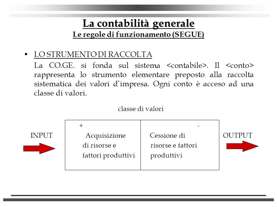La contabilità generale Le regole di funzionamento (SEGUE)