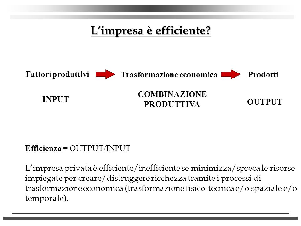 L'impresa è efficiente