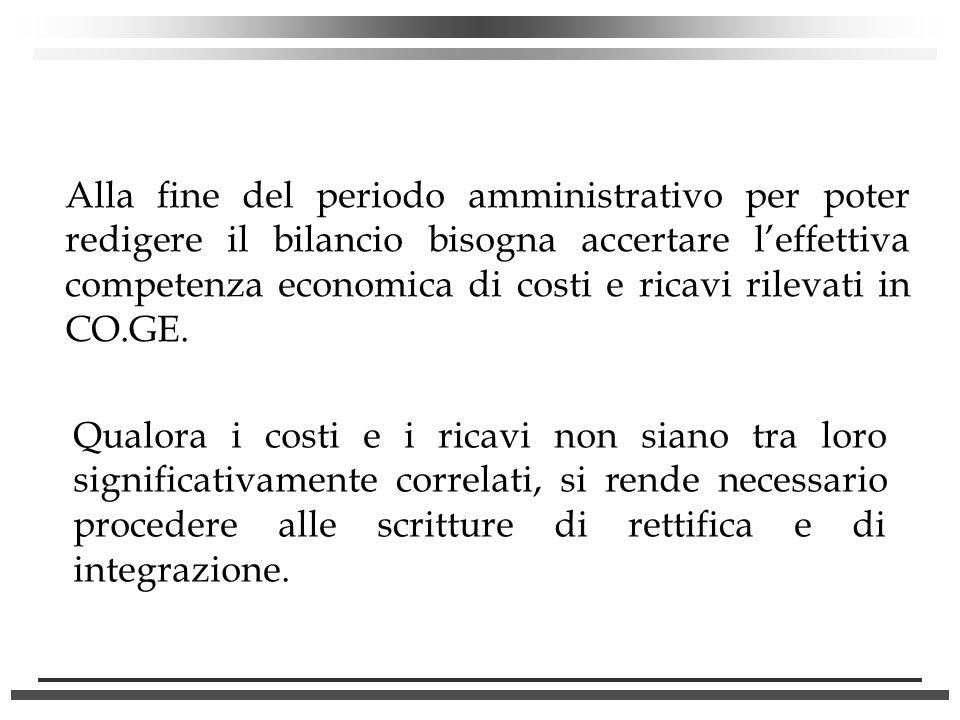 Alla fine del periodo amministrativo per poter redigere il bilancio bisogna accertare l'effettiva competenza economica di costi e ricavi rilevati in CO.GE.