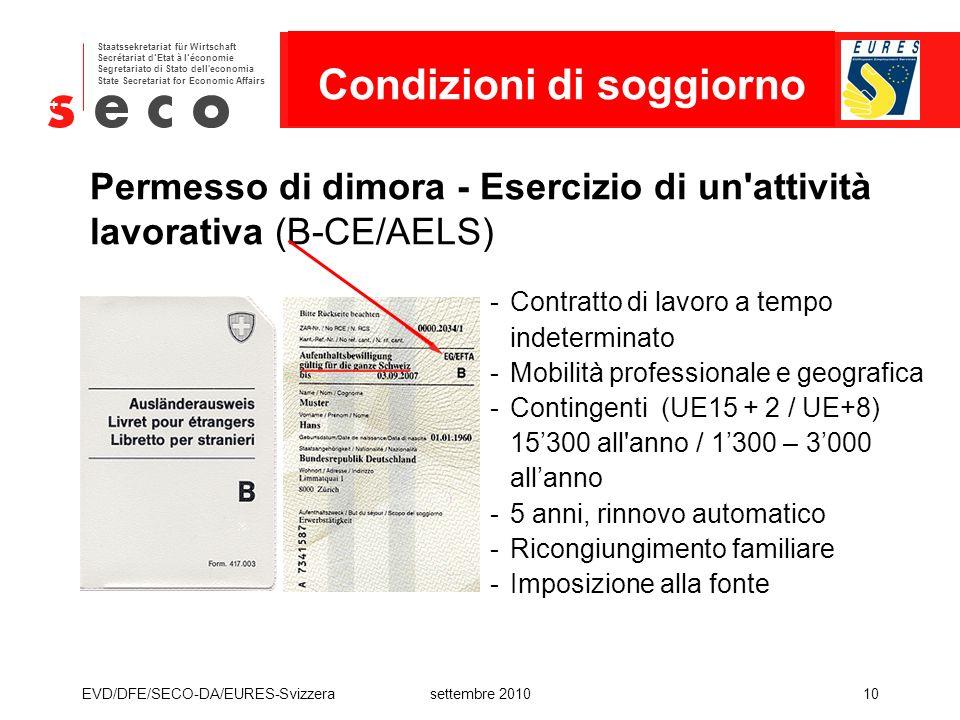 Permesso di dimora - Esercizio di un attività lavorativa (B-CE/AELS)