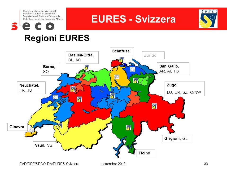 Regioni EURES Sciaffusa Basilea-Città, BL, AG Zurigo Berna, SO