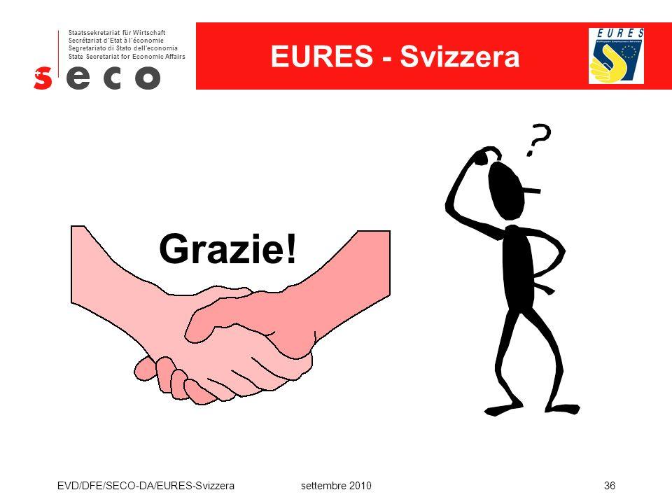 Grazie! EVD/DFE/SECO-DA/EURES-Svizzera settembre 2010