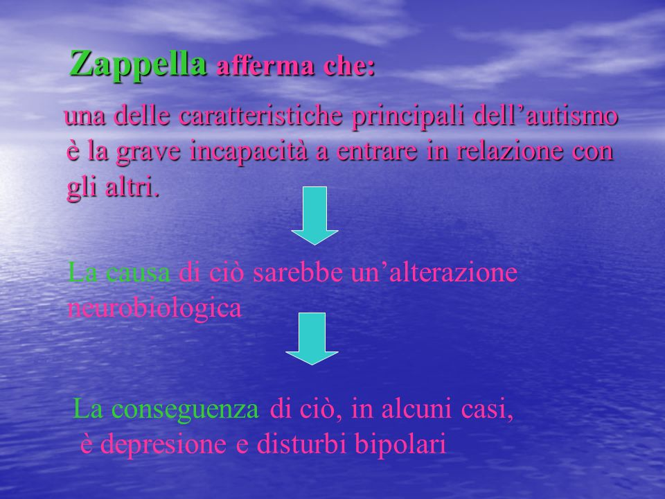 Zappella afferma che:una delle caratteristiche principali dell'autismo è la grave incapacità a entrare in relazione con gli altri.