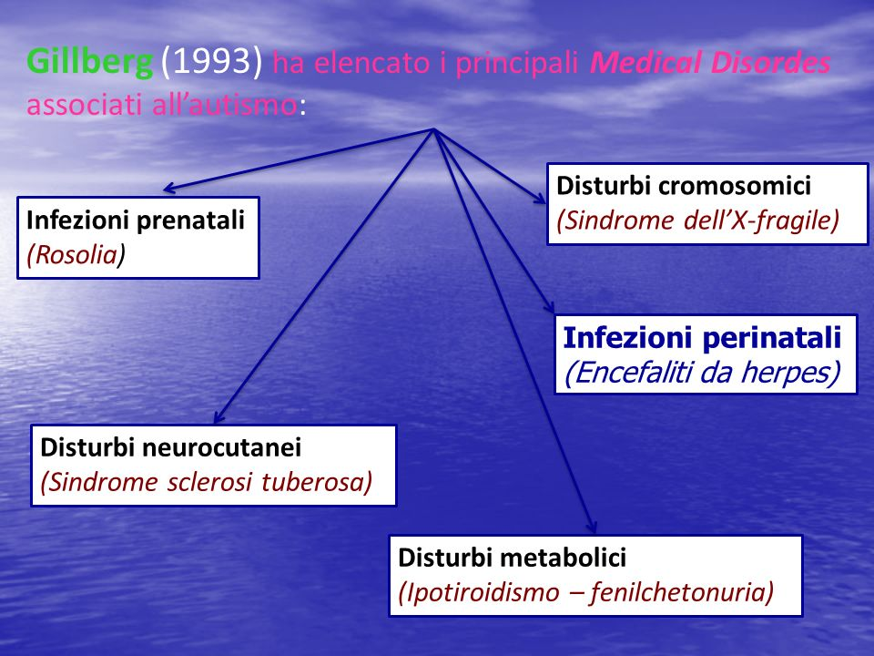 Gillberg (1993) ha elencato i principali Medical Disordes associati all'autismo: