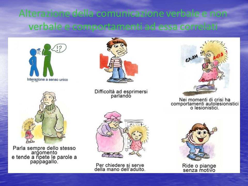 Alterazione della comunicazione verbale e non verbale e comportamenti ad essa correlati
