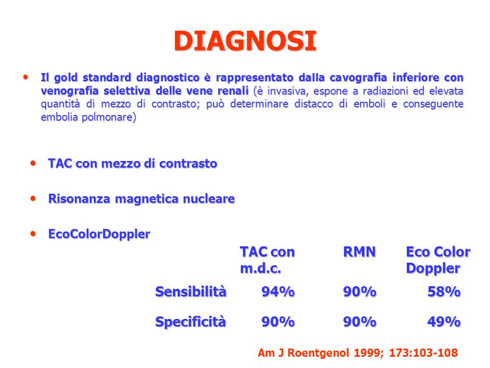 DIAGNOSI TAC con m.d.c. RMN Eco Color Doppler Sensibilità 94% 90% 58%
