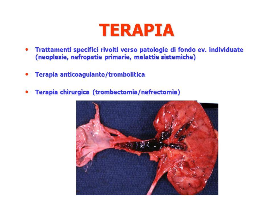 TERAPIA Trattamenti specifici rivolti verso patologie di fondo ev. individuate (neoplasie, nefropatie primarie, malattie sistemiche)
