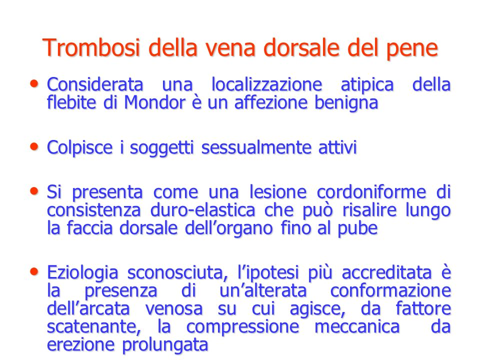 Trombosi della vena dorsale del pene
