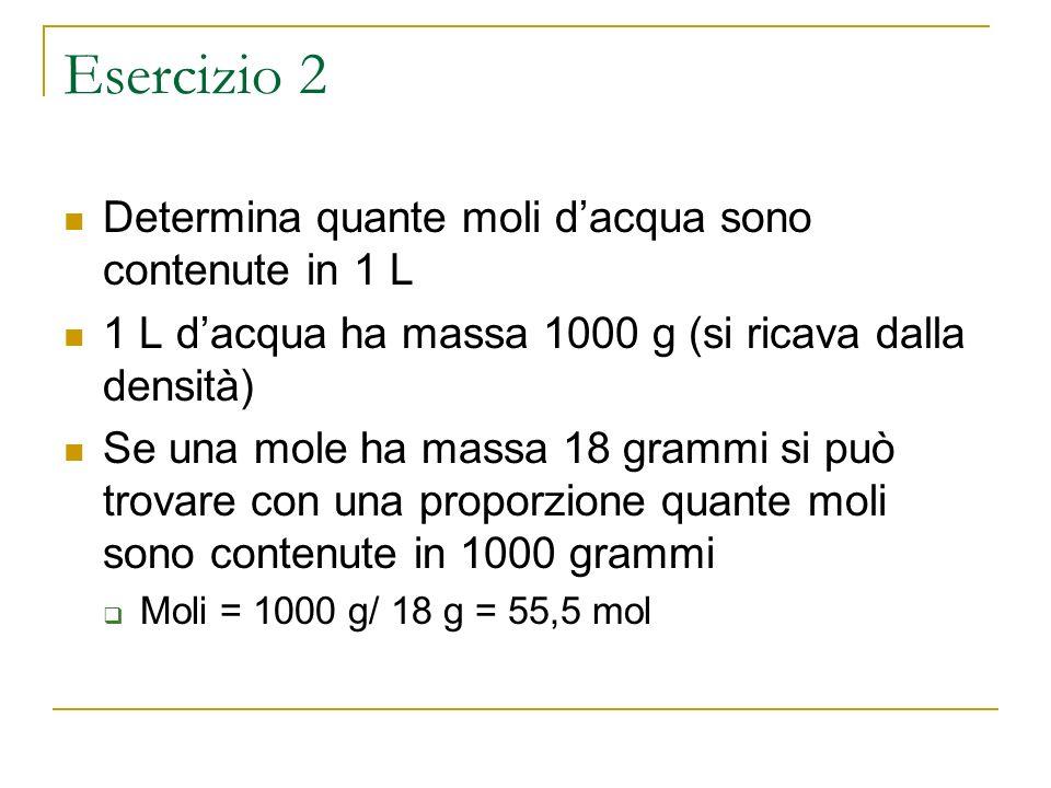 Esercizio 2 Determina quante moli d'acqua sono contenute in 1 L
