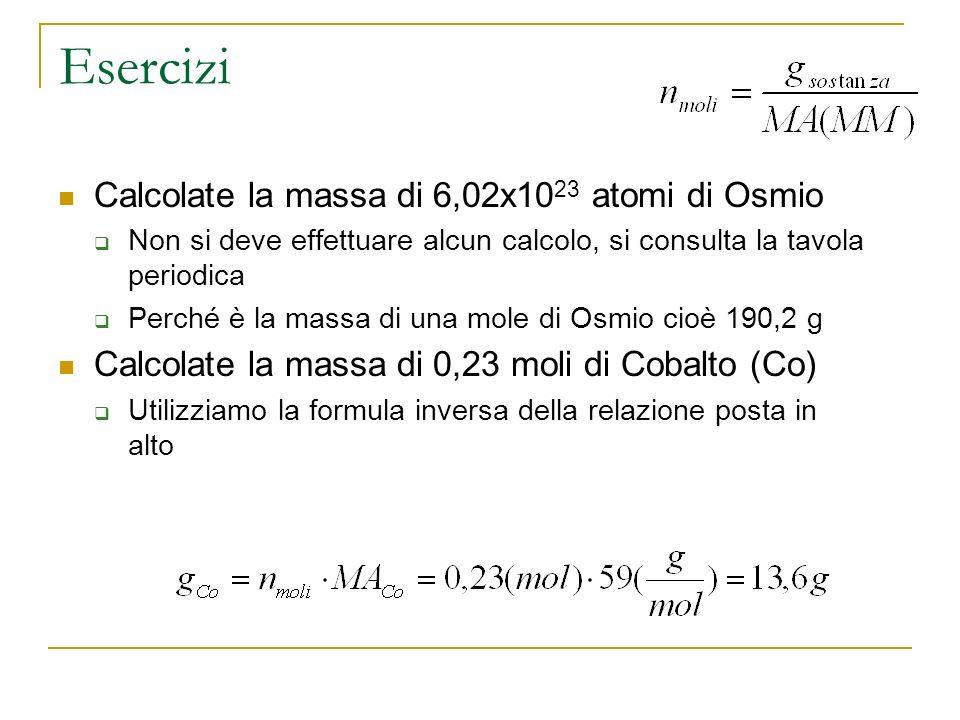 Esercizi Calcolate la massa di 6,02x1023 atomi di Osmio