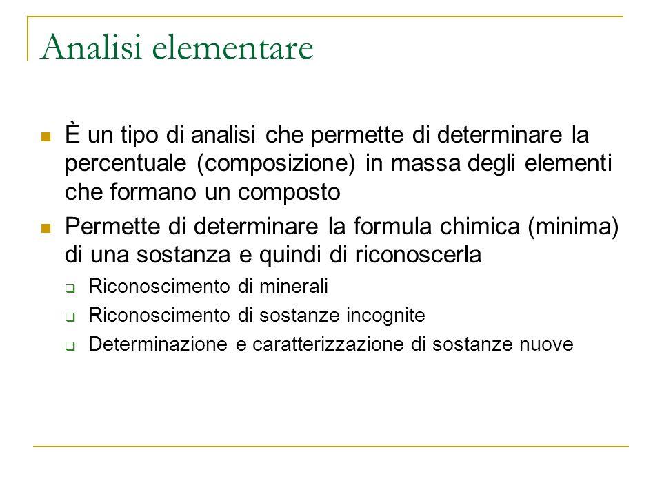 Analisi elementare È un tipo di analisi che permette di determinare la percentuale (composizione) in massa degli elementi che formano un composto.