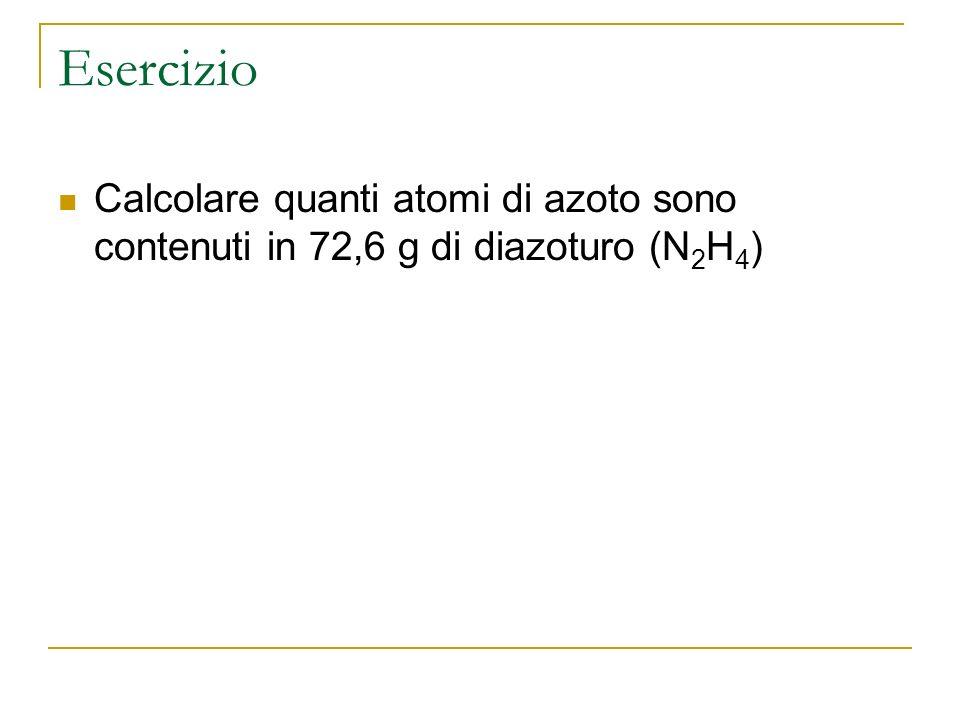 Esercizio Calcolare quanti atomi di azoto sono contenuti in 72,6 g di diazoturo (N2H4)