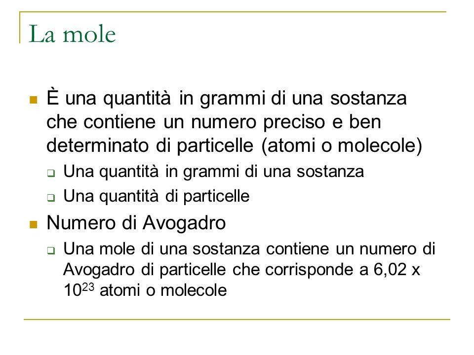La mole È una quantità in grammi di una sostanza che contiene un numero preciso e ben determinato di particelle (atomi o molecole)