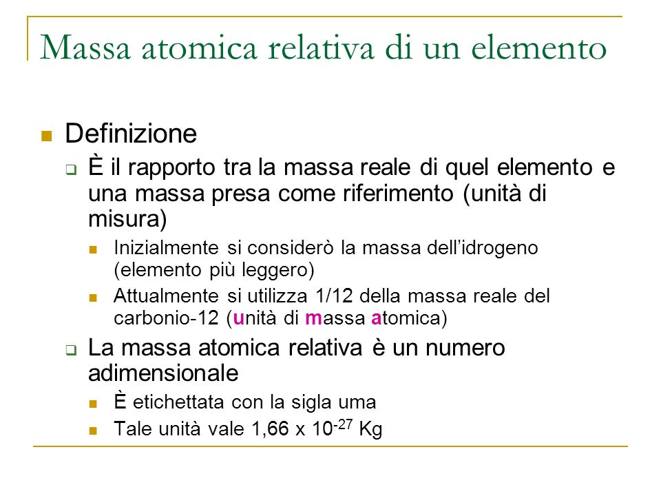 Massa atomica relativa di un elemento