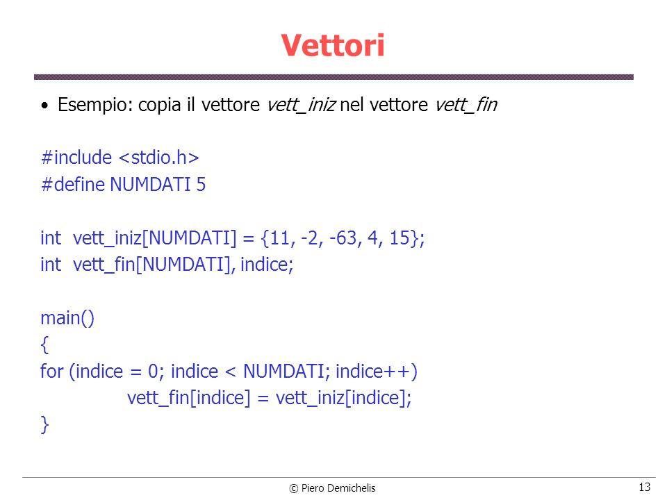 Vettori Esempio: copia il vettore vett_iniz nel vettore vett_fin
