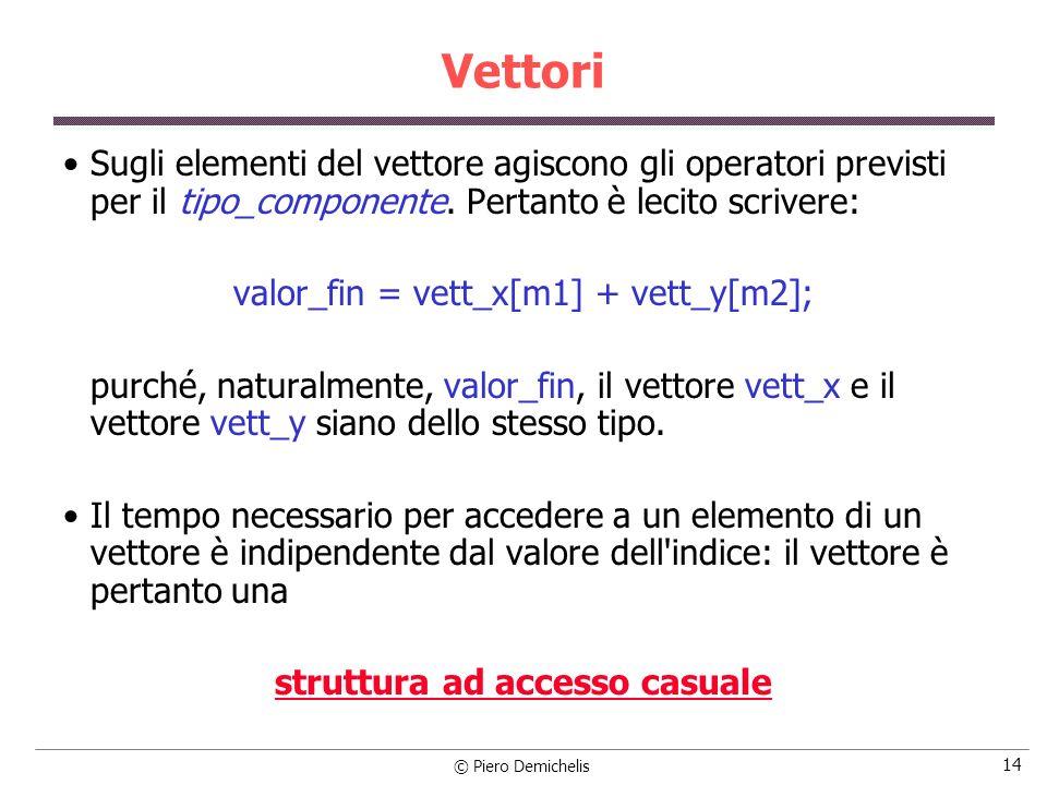 Vettori Sugli elementi del vettore agiscono gli operatori previsti per il tipo_componente. Pertanto è lecito scrivere: