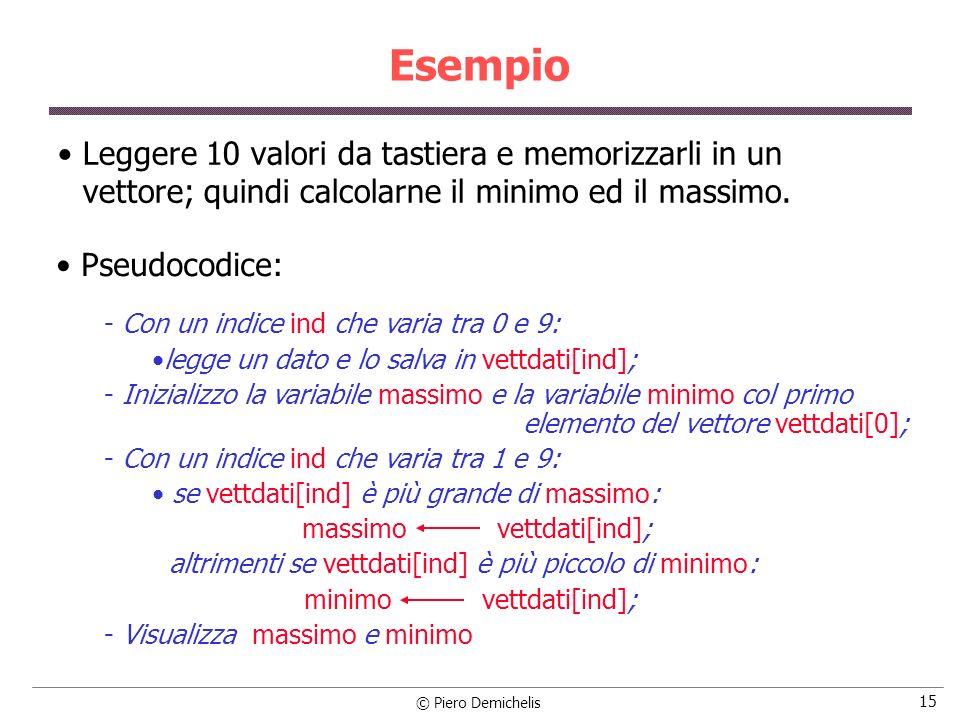 EsempioLeggere 10 valori da tastiera e memorizzarli in un vettore; quindi calcolarne il minimo ed il massimo.