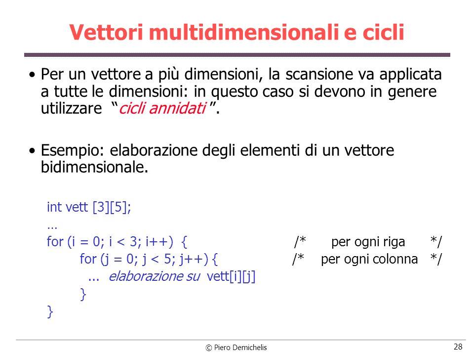 Vettori multidimensionali e cicli