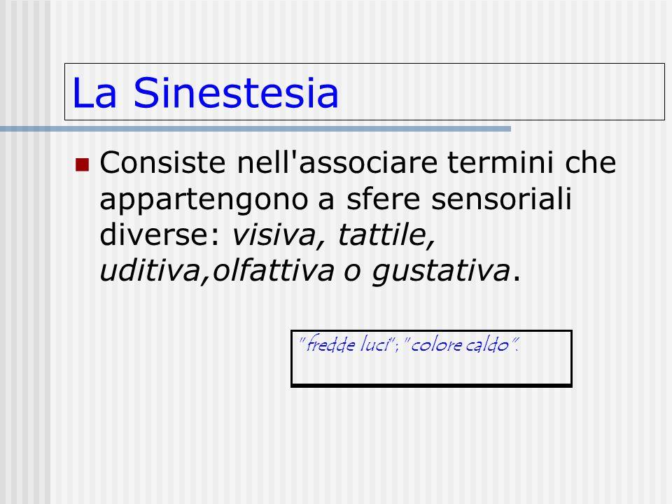 La SinestesiaConsiste nell associare termini che appartengono a sfere sensoriali diverse: visiva, tattile, uditiva,olfattiva o gustativa.