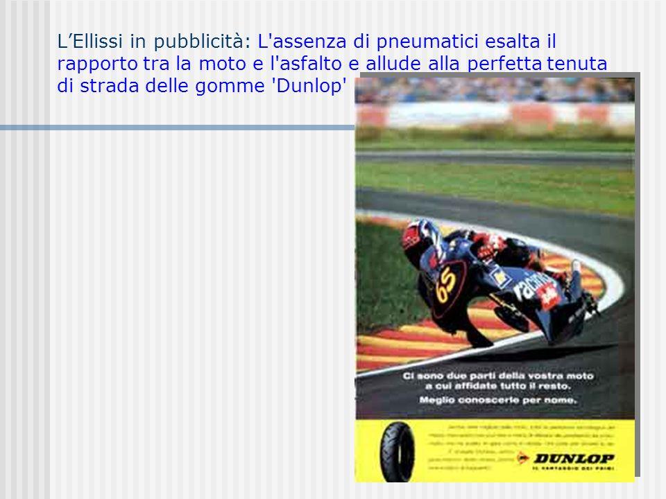 L'Ellissi in pubblicità: L assenza di pneumatici esalta il rapporto tra la moto e l asfalto e allude alla perfetta tenuta di strada delle gomme Dunlop