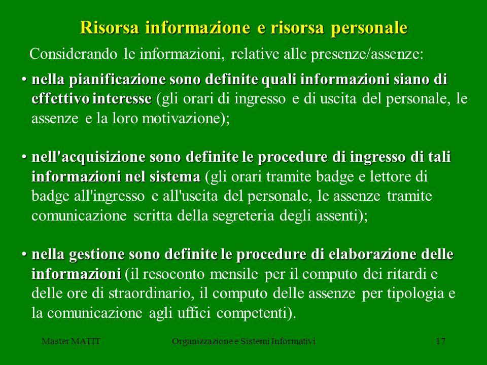Risorsa informazione e risorsa personale