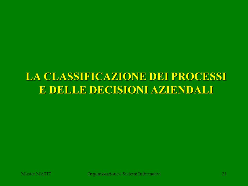 LA CLASSIFICAZIONE DEI PROCESSI E DELLE DECISIONI AZIENDALI