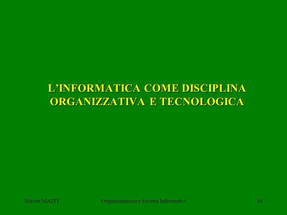 L'INFORMATICA COME DISCIPLINA ORGANIZZATIVA E TECNOLOGICA