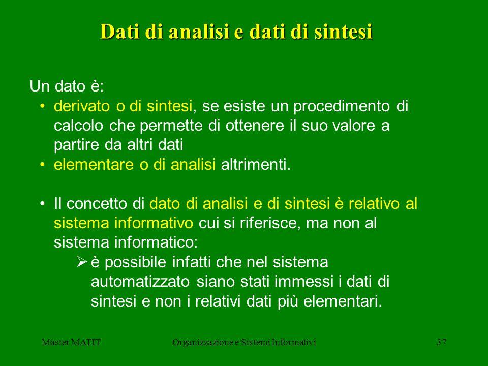 Dati di analisi e dati di sintesi