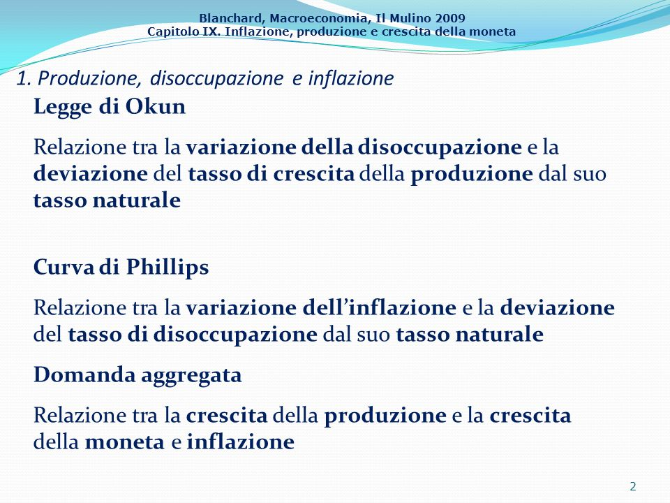 1. Produzione, disoccupazione e inflazione