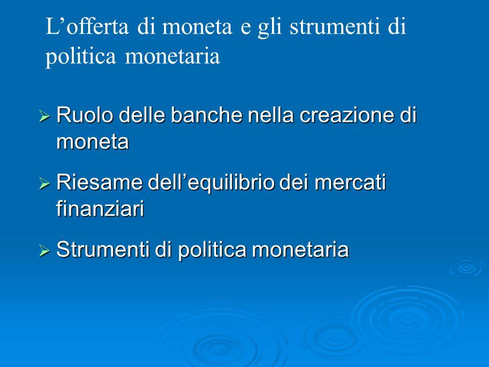 L'offerta di moneta e gli strumenti di politica monetaria