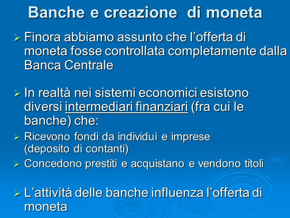 Banche e creazione di moneta