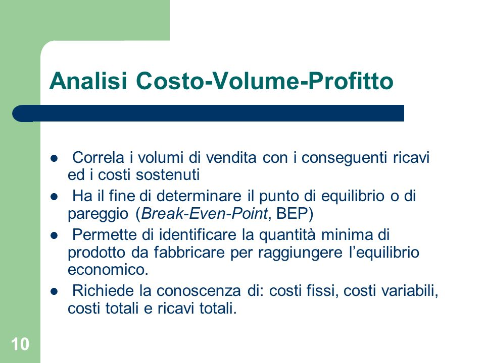 Analisi Costo-Volume-Profitto