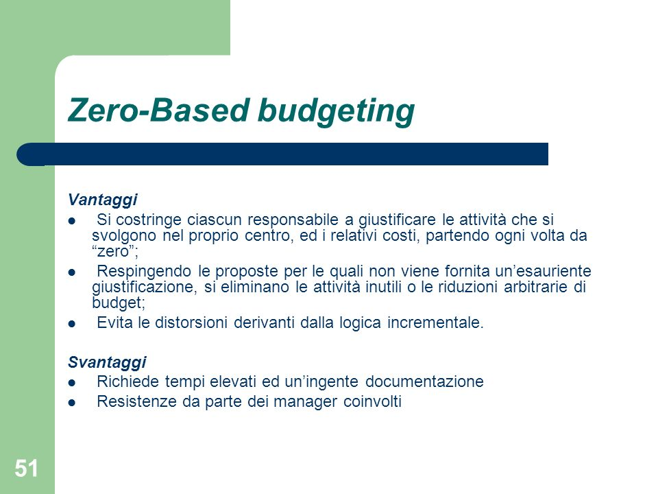 Zero-Based budgeting Vantaggi