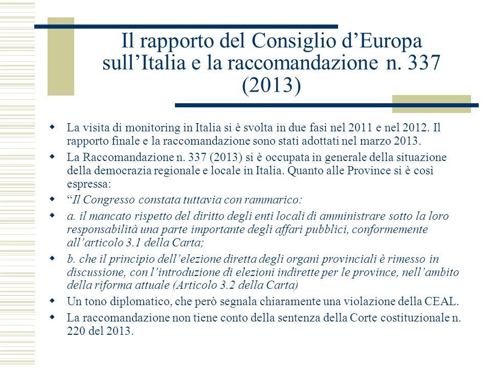 Il rapporto del Consiglio d'Europa sull'Italia e la raccomandazione n