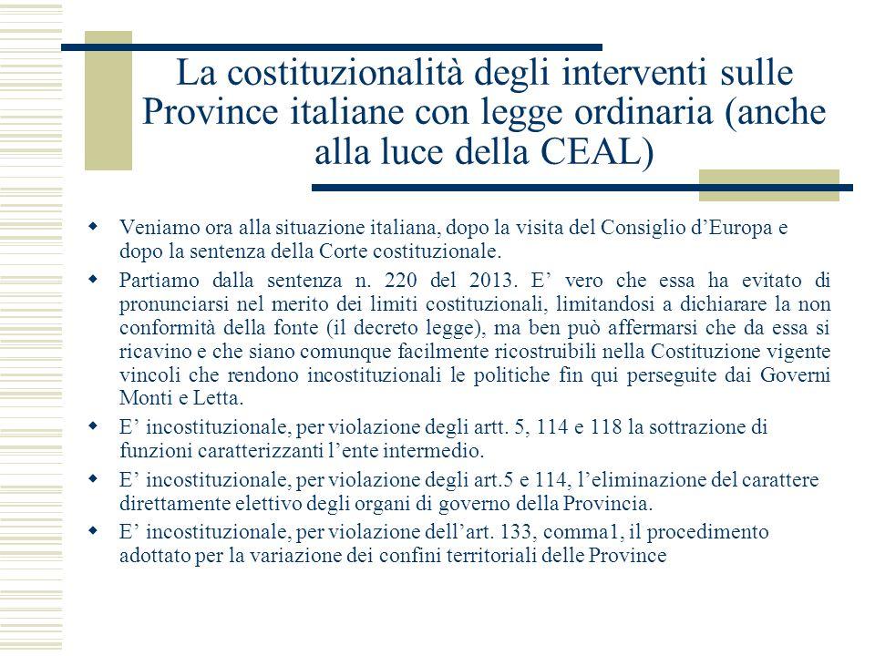 La costituzionalità degli interventi sulle Province italiane con legge ordinaria (anche alla luce della CEAL)