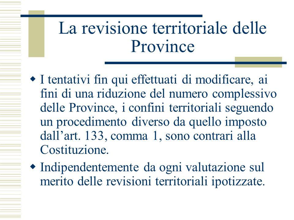 La revisione territoriale delle Province