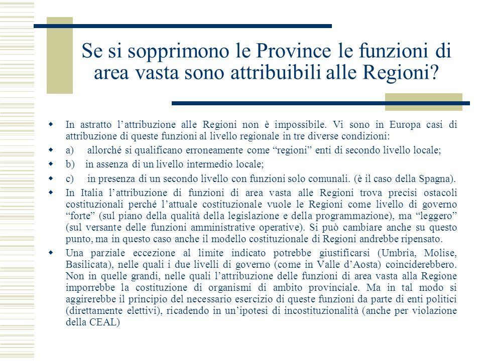 Se si sopprimono le Province le funzioni di area vasta sono attribuibili alle Regioni