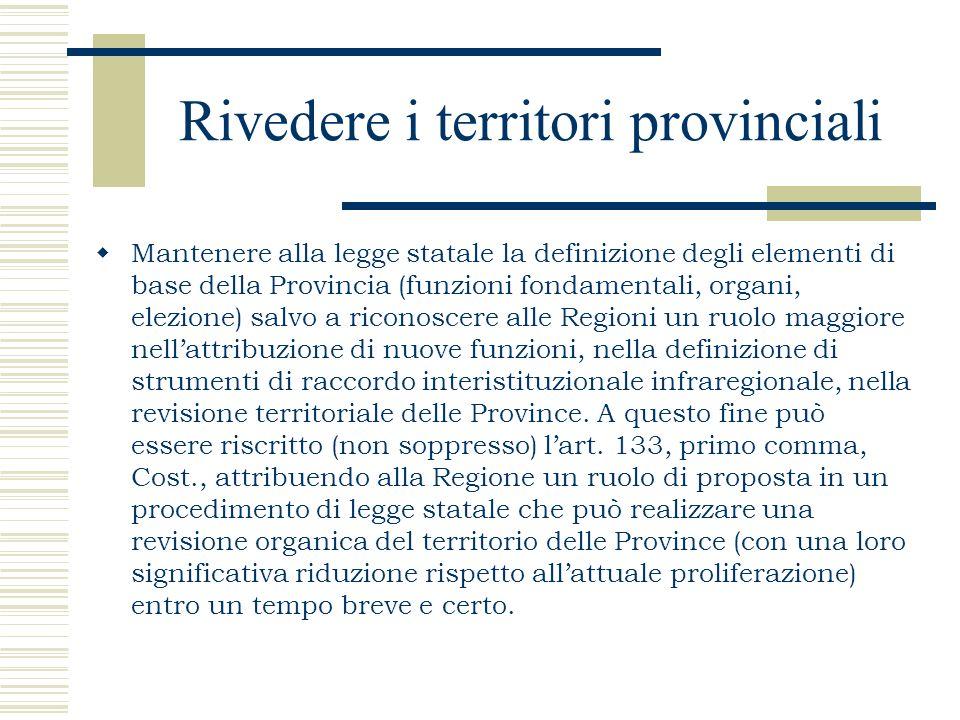 Rivedere i territori provinciali