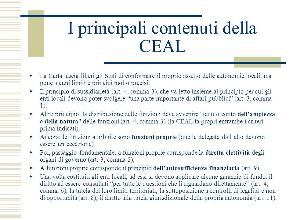 I principali contenuti della CEAL