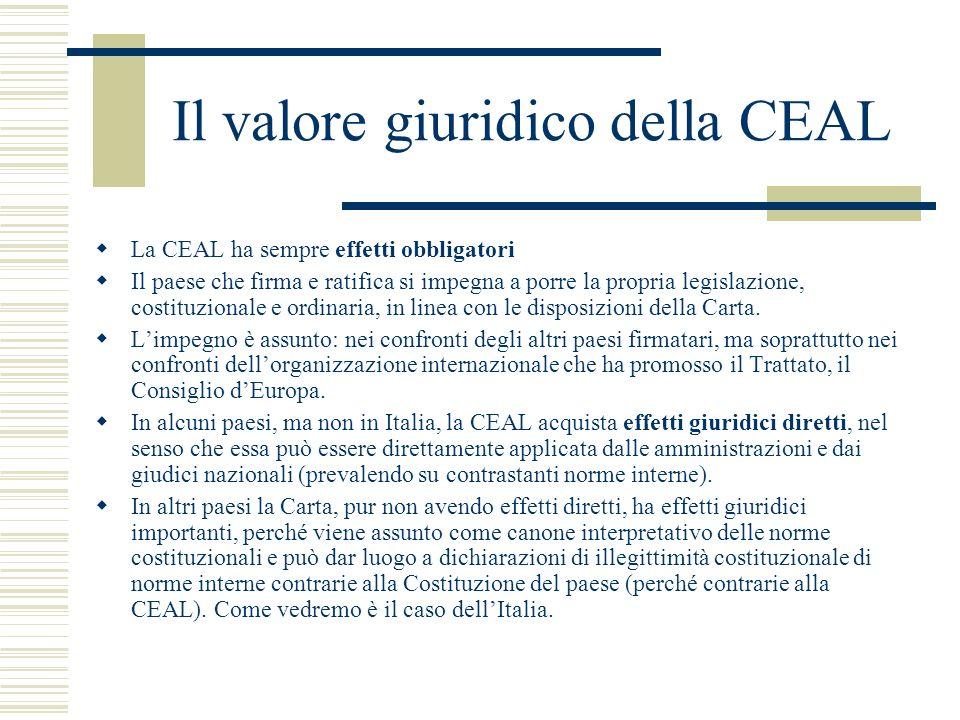 Il valore giuridico della CEAL